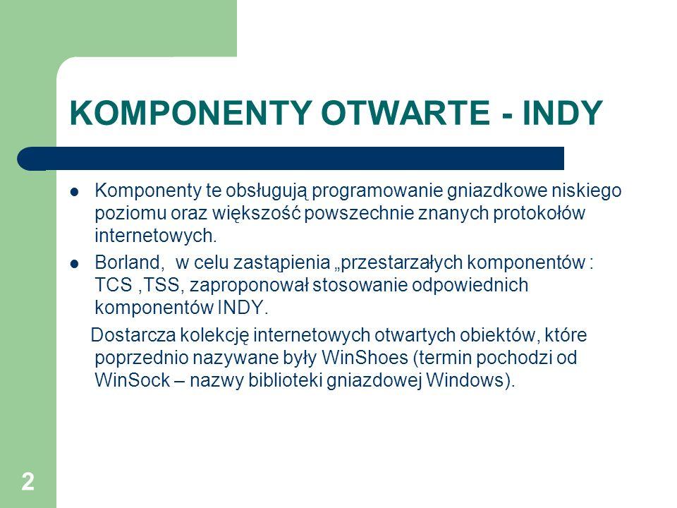 2 KOMPONENTY OTWARTE - INDY Komponenty te obsługują programowanie gniazdkowe niskiego poziomu oraz większość powszechnie znanych protokołów internetow