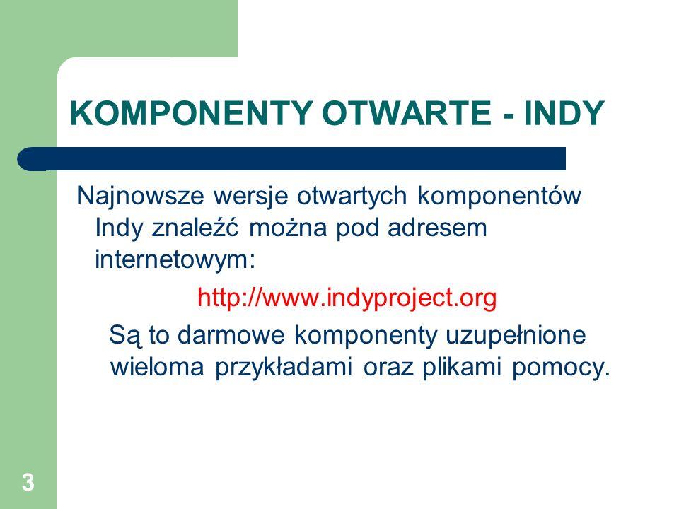 3 KOMPONENTY OTWARTE - INDY Najnowsze wersje otwartych komponentów Indy znaleźć można pod adresem internetowym: http://www.indyproject.org Są to darmo
