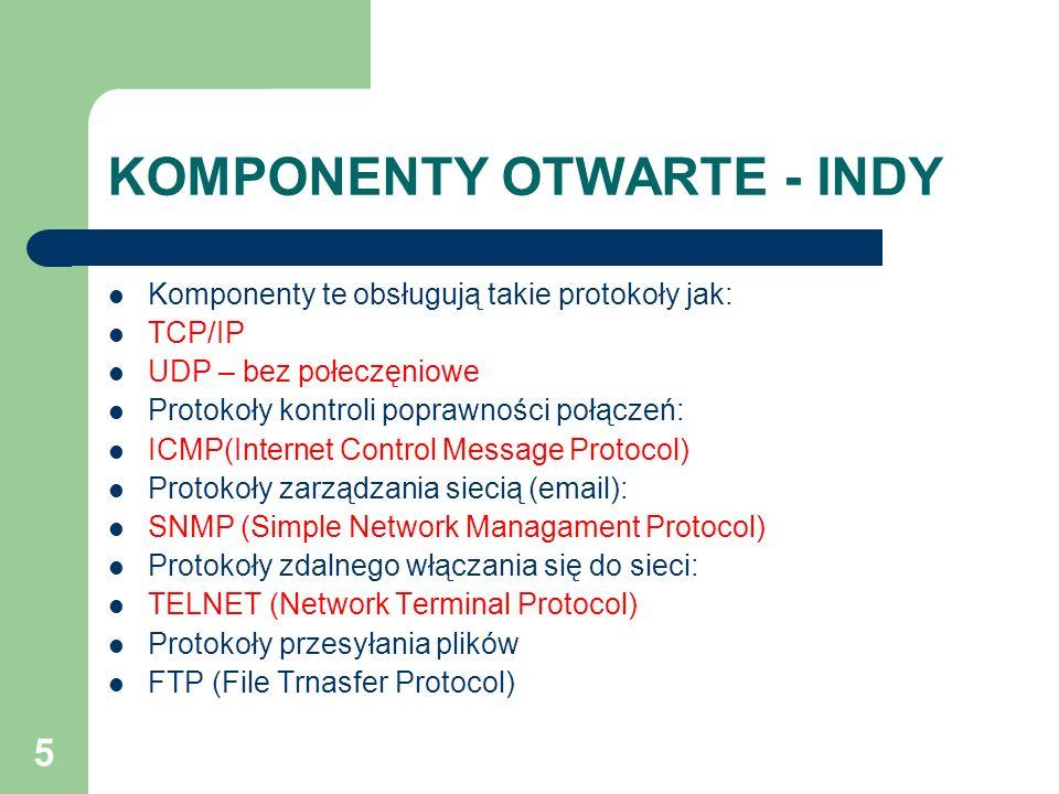 5 KOMPONENTY OTWARTE - INDY Komponenty te obsługują takie protokoły jak: TCP/IP UDP – bez połeczęniowe Protokoły kontroli poprawności połączeń: ICMP(I