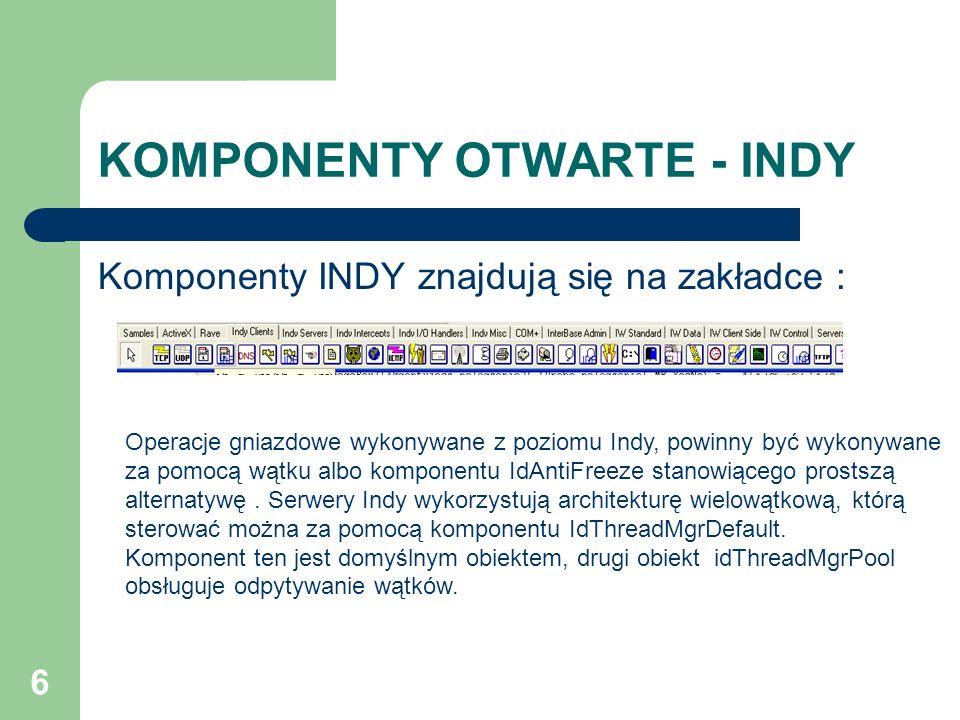6 KOMPONENTY OTWARTE - INDY Komponenty INDY znajdują się na zakładce : Operacje gniazdowe wykonywane z poziomu Indy, powinny być wykonywane za pomocą