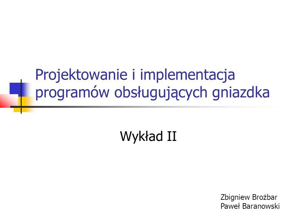 Projektowanie i implementacja programów obsługujących gniazdka Wykład II Zbigniew Brożbar Paweł Baranowski