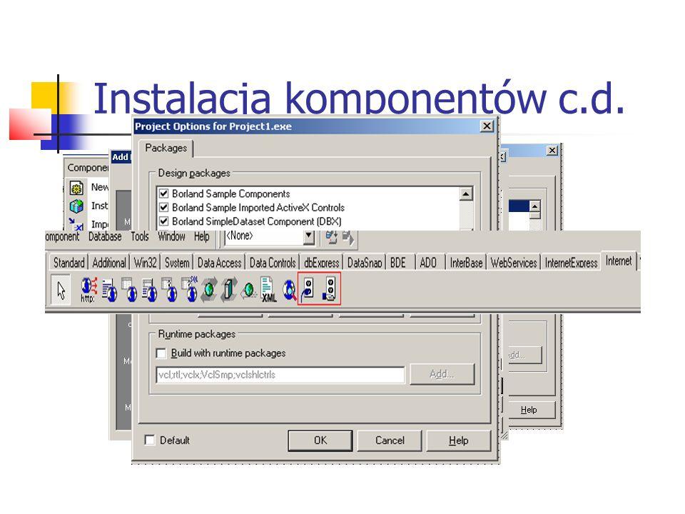 Instalacja komponentów c.d.