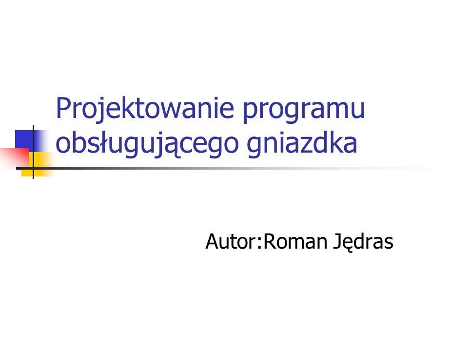 Projektowanie programu obsługującego gniazdka Autor:Roman Jędras
