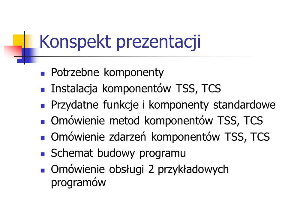 Konspekt prezentacji Potrzebne komponenty Instalacja komponentów TSS, TCS Przydatne funkcje i komponenty standardowe Omówienie metod komponentów TSS,