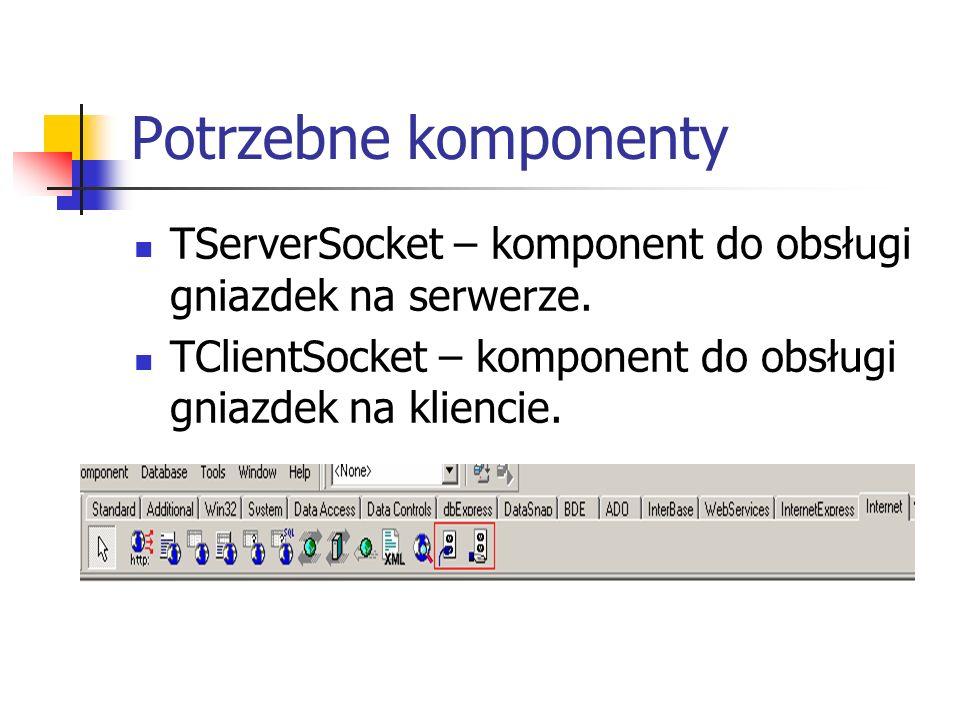 Potrzebne komponenty TServerSocket – komponent do obsługi gniazdek na serwerze. TClientSocket – komponent do obsługi gniazdek na kliencie.
