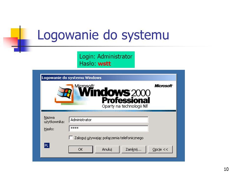 10 Login: Administrator Hasło: wstt Logowanie do systemu