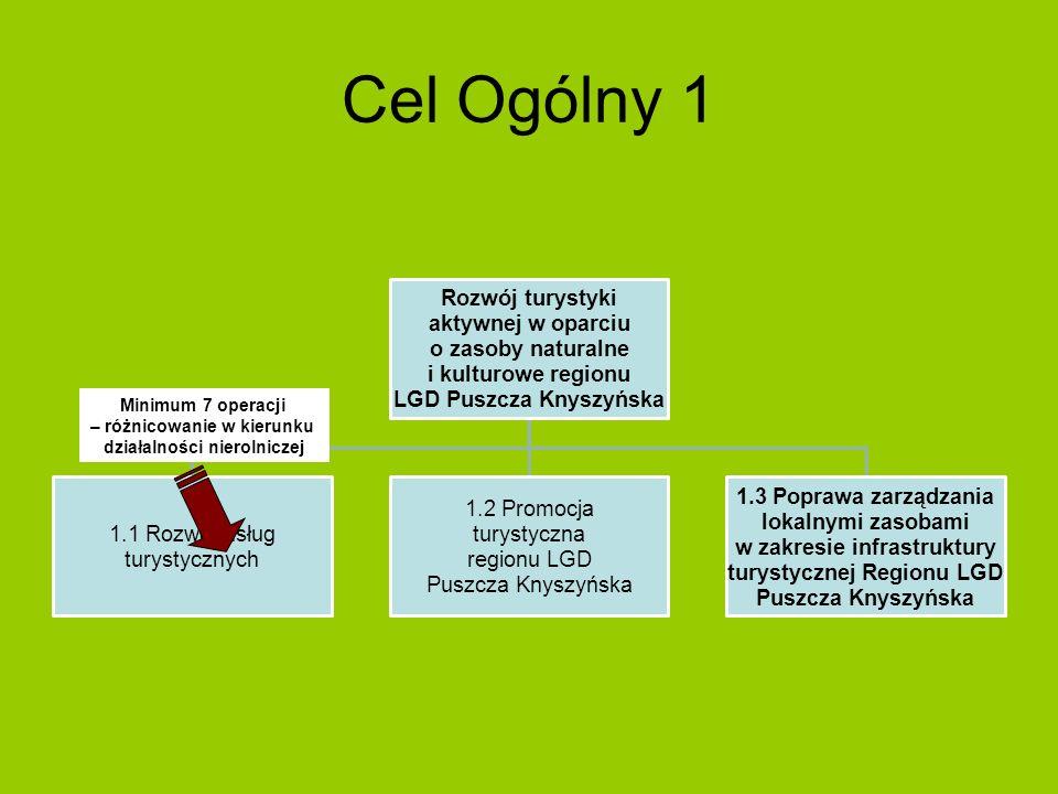 Cel Ogólny 1 Rozwój turystyki aktywnej w oparciu o zasoby naturalne i kulturowe regionu LGD Puszcza Knyszyńska 1.1 Rozwój usług turystycznych 1.2 Prom