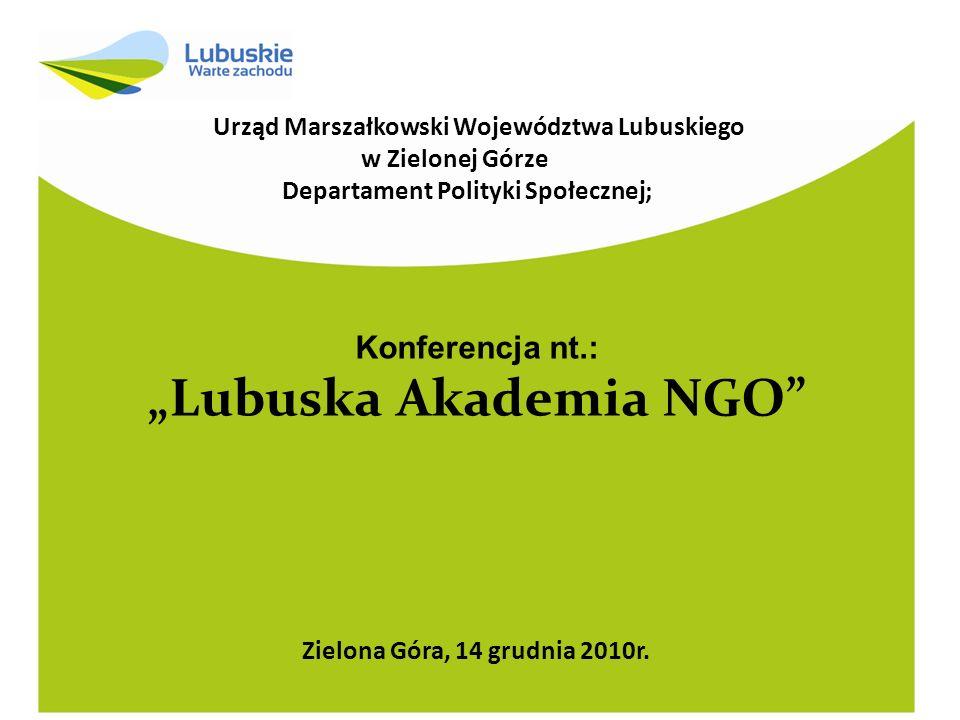 W części I Sprawozdanie merytoryczne Konferencja nt.: Lubuska Akademia NGO