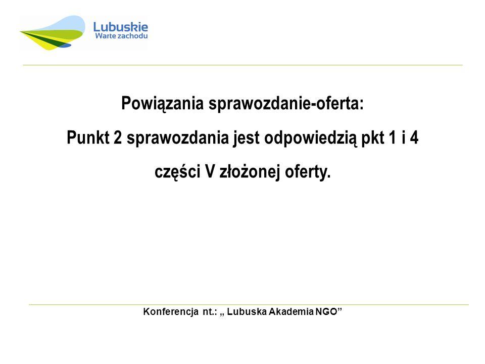 Konferencja nt.: Lubuska Akademia NGO Powiązania sprawozdanie-oferta: Punkt 2 sprawozdania jest odpowiedzią pkt 1 i 4 części V złożonej oferty.