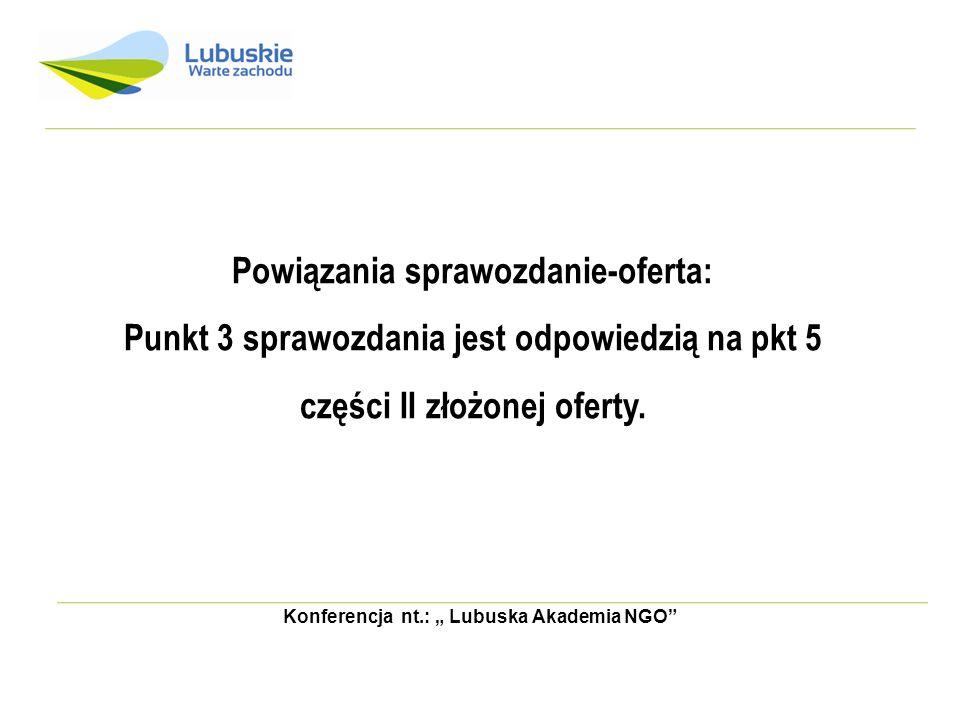 Konferencja nt.: Lubuska Akademia NGO Powiązania sprawozdanie-oferta: Punkt 3 sprawozdania jest odpowiedzią na pkt 5 części II złożonej oferty.