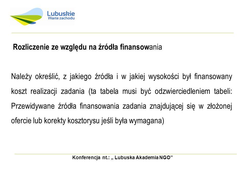 Konferencja nt.: Lubuska Akademia NGO Rozliczenie ze względu na źródła finansow ania Należy określić, z jakiego źródła i w jakiej wysokości był finans