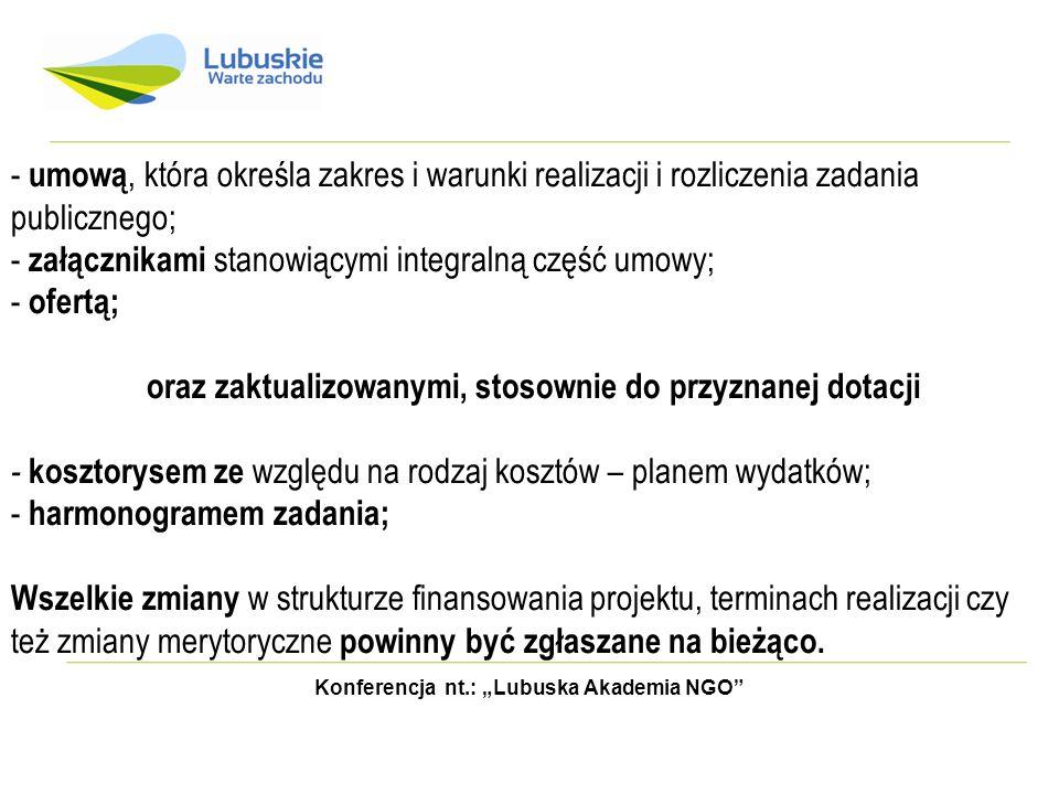 Konferencja nt.: Lubuska Akademia NGO Przyznane środki finansowe, określone w § 2 ust.