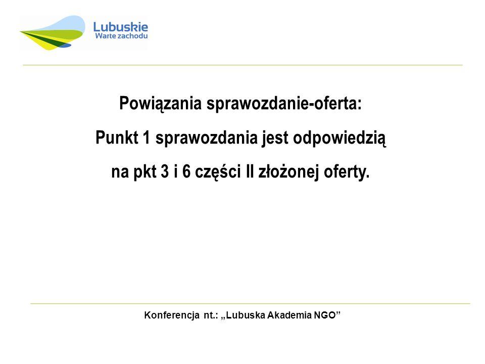 Konferencja nt.: Lubuska Akademia NGO Powiązania sprawozdanie-oferta: Punkt 1 sprawozdania jest odpowiedzią na pkt 3 i 6 części II złożonej oferty.