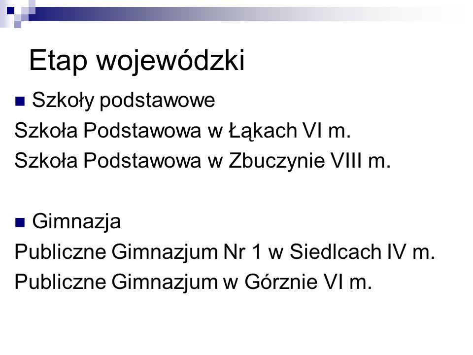 Etap wojewódzki Szkoły podstawowe Szkoła Podstawowa w Łąkach VI m.