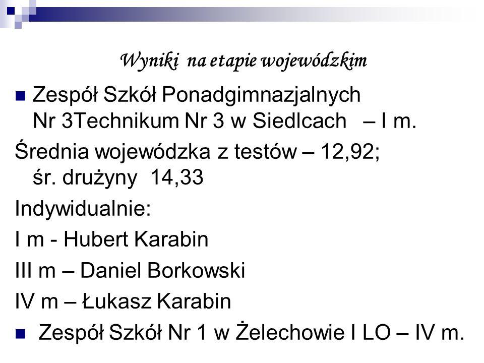 Wyniki na etapie wojewódzkim Zespół Szkół Ponadgimnazjalnych Nr 3Technikum Nr 3 w Siedlcach – I m.