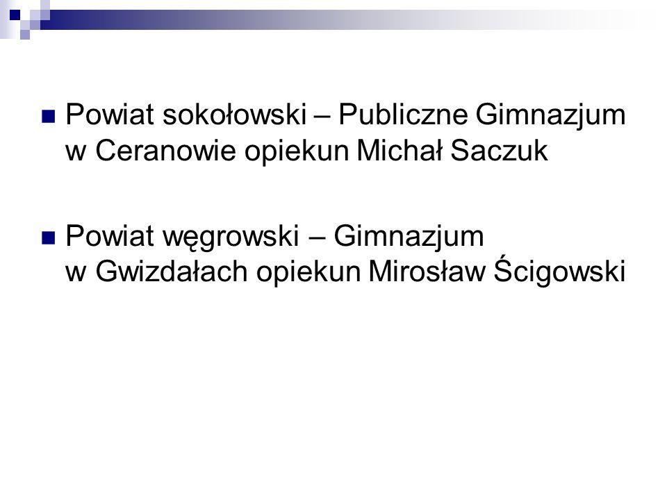 Powiat sokołowski – Publiczne Gimnazjum w Ceranowie opiekun Michał Saczuk Powiat węgrowski – Gimnazjum w Gwizdałach opiekun Mirosław Ścigowski