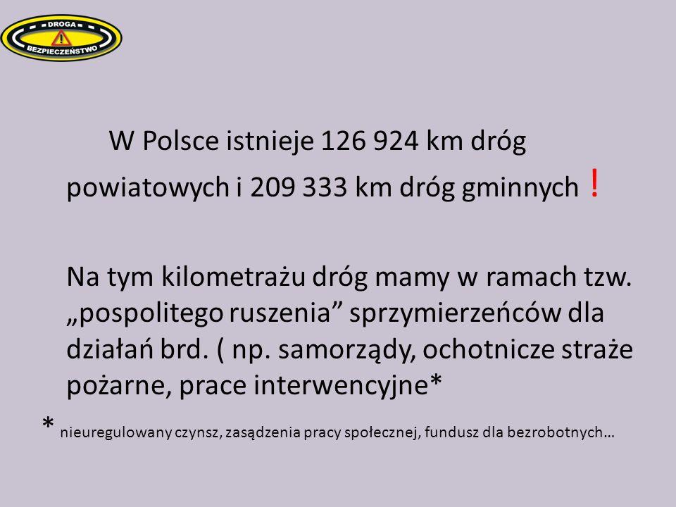 W Polsce istnieje 126 924 km dróg powiatowych i 209 333 km dróg gminnych ! Na tym kilometrażu dróg mamy w ramach tzw. pospolitego ruszenia sprzymierze
