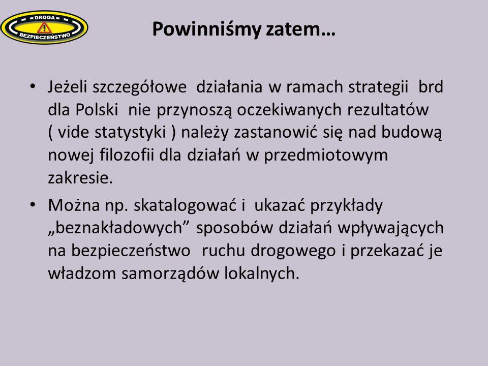 Powinniśmy zatem… Jeżeli szczegółowe działania w ramach strategii brd dla Polski nie przynoszą oczekiwanych rezultatów ( vide statystyki ) należy zast