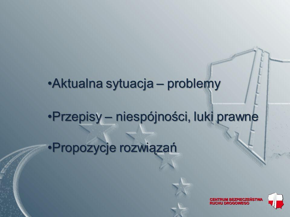 Aktualna sytuacja – problemyAktualna sytuacja – problemy Przepisy – niespójności, luki prawnePrzepisy – niespójności, luki prawne Propozycje rozwiązańPropozycje rozwiązań