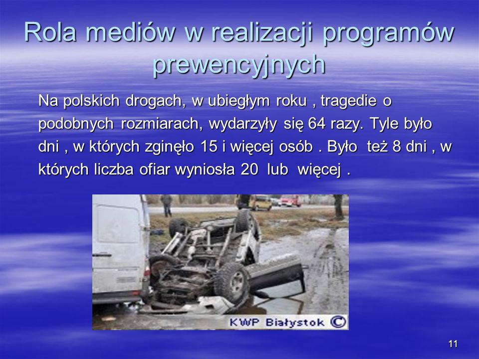 Rola mediów w realizacji programów prewencyjnych Na polskich drogach, w ubiegłym roku, tragedie o Na polskich drogach, w ubiegłym roku, tragedie o pod