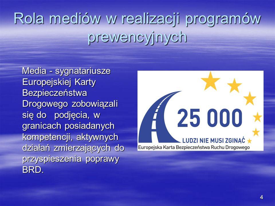 Rola mediów w realizacji programów prewencyjnych Media - sygnatariusze Europejskiej Karty Bezpieczeństwa Drogowego zobowiązali się do podjęcia, w gran
