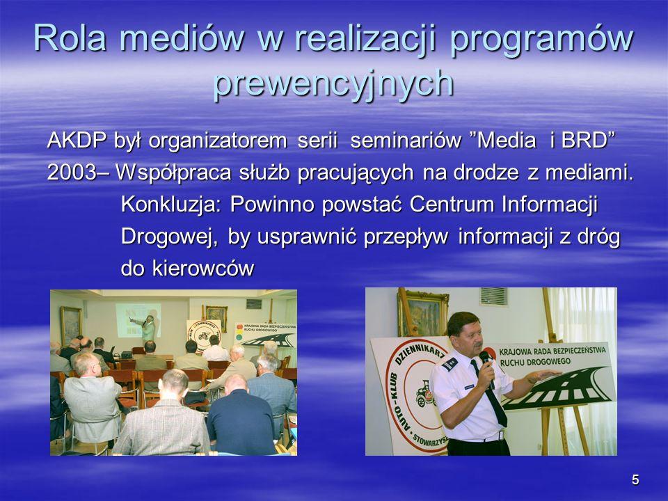 Rola mediów w realizacji programów prewencyjnych AKDP był organizatorem serii seminariów Media i BRD AKDP był organizatorem serii seminariów Media i B