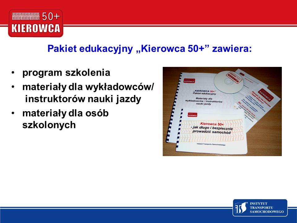 Pakiet edukacyjny Kierowca 50+ zawiera: program szkolenia materiały dla wykładowców/ instruktorów nauki jazdy materiały dla osób szkolonych
