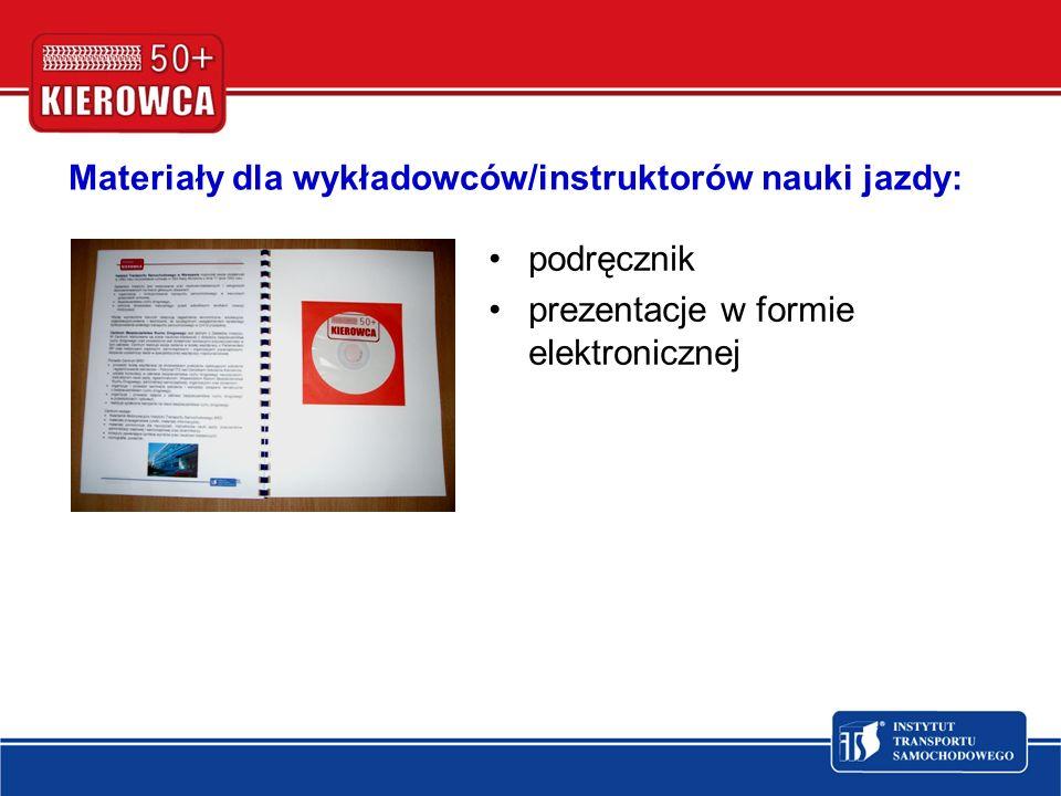 Materiały dla wykładowców/instruktorów nauki jazdy: podręcznik prezentacje w formie elektronicznej