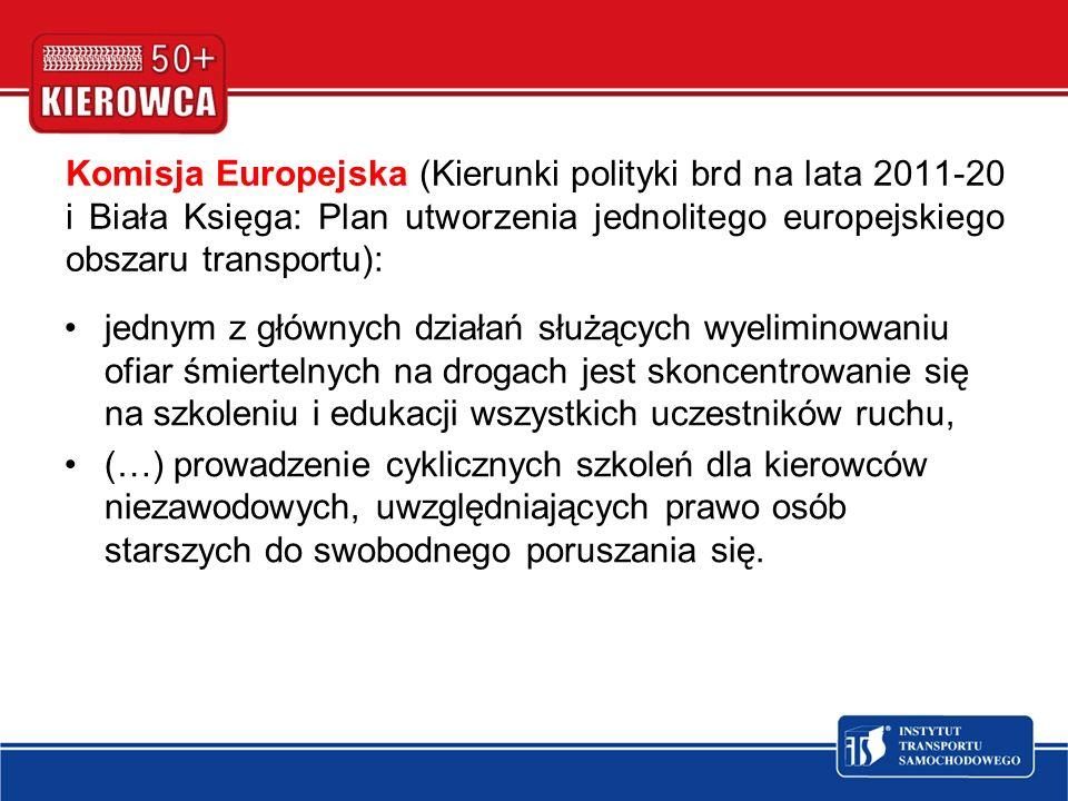 Komisja Europejska (Kierunki polityki brd na lata 2011-20 i Biała Księga: Plan utworzenia jednolitego europejskiego obszaru transportu): jednym z głów