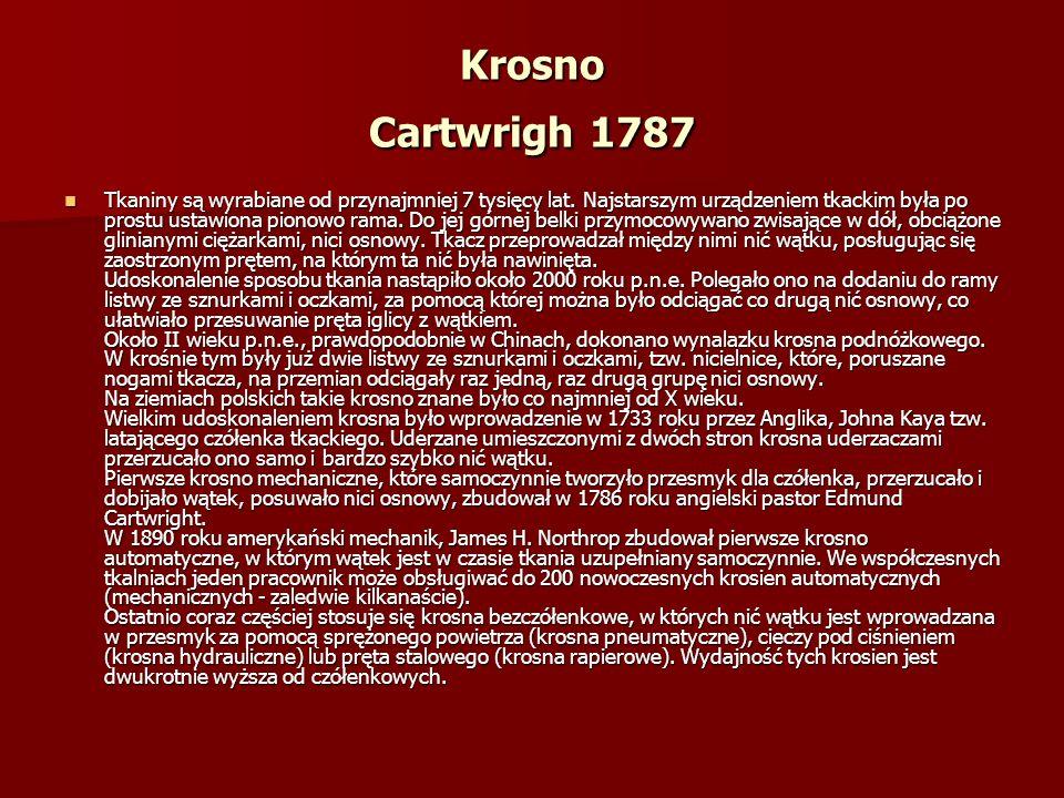 Krosno Cartwrigh 1787 Tkaniny są wyrabiane od przynajmniej 7 tysięcy lat.