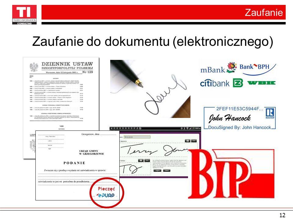 Zaufanie 12 Zaufanie do dokumentu (elektronicznego) Pieczęć