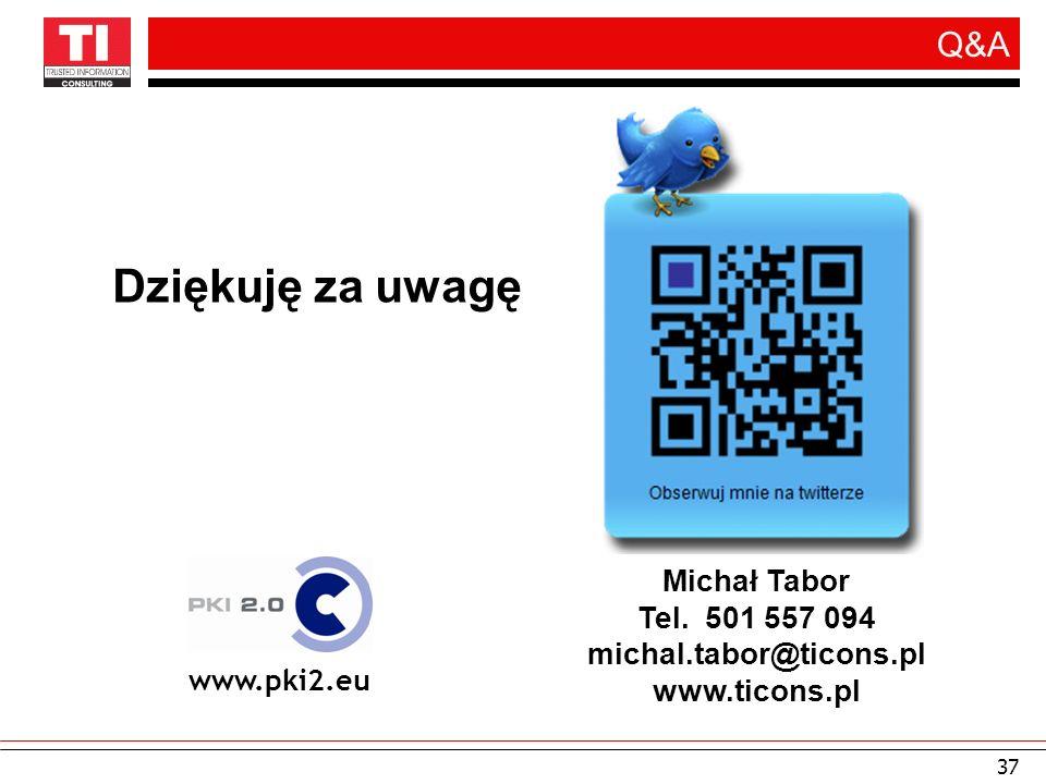 37 Q&A www.pki2.eu Michał Tabor Tel. 501 557 094 michal.tabor@ticons.pl www.ticons.pl Dziękuję za uwagę