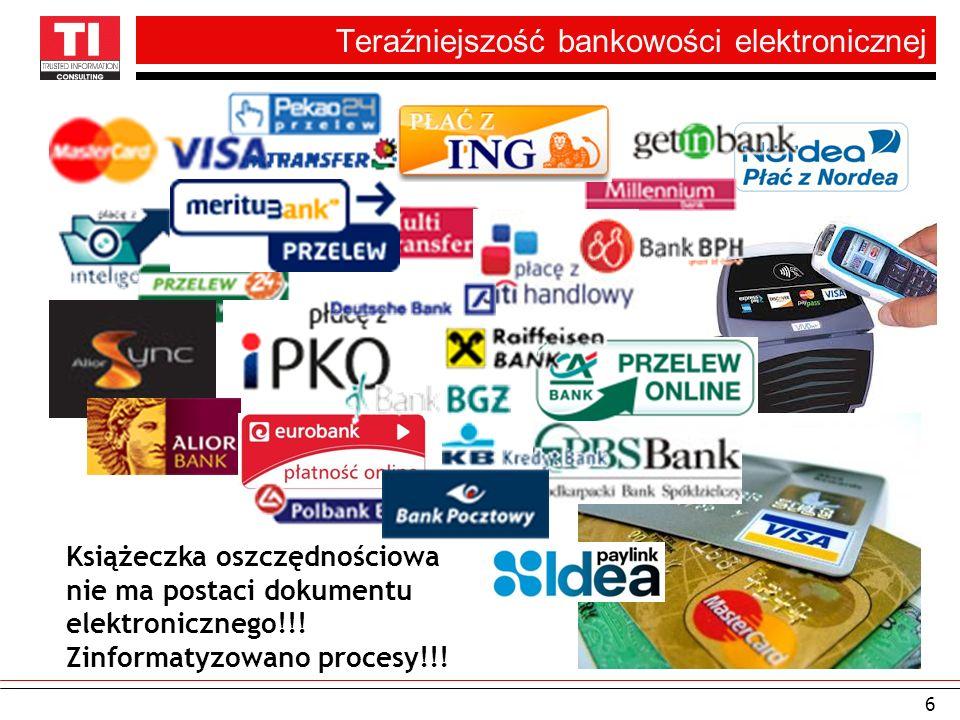 Teraźniejszość bankowości elektronicznej 6 Książeczka oszczędnościowa nie ma postaci dokumentu elektronicznego!!! Zinformatyzowano procesy!!!