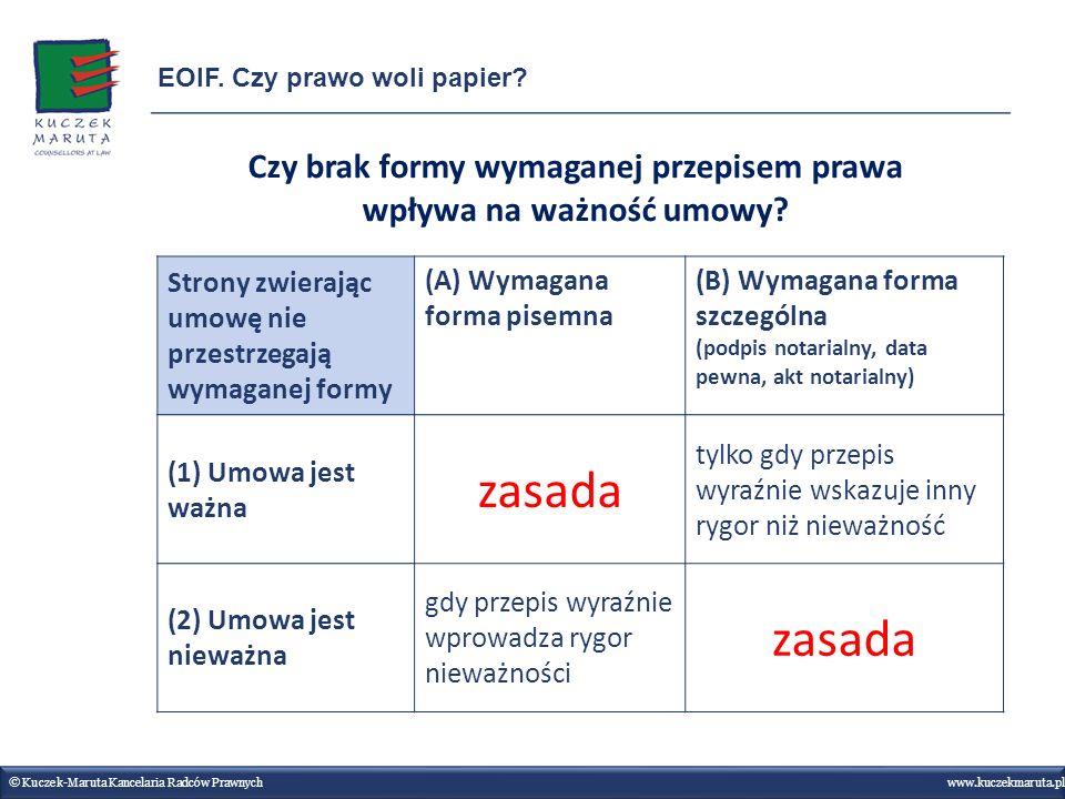 © Kuczek-Maruta Kancelaria Radców Prawnych www.kuczekmaruta.pl EOIF. Czy prawo woli papier? Strony zwierając umowę nie przestrzegają wymaganej formy (