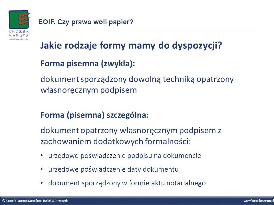 Jakie rodzaje formy mamy do dyspozycji? Forma pisemna (zwykła): dokument sporządzony dowolną techniką opatrzony własnoręcznym podpisem Forma (pisemna)
