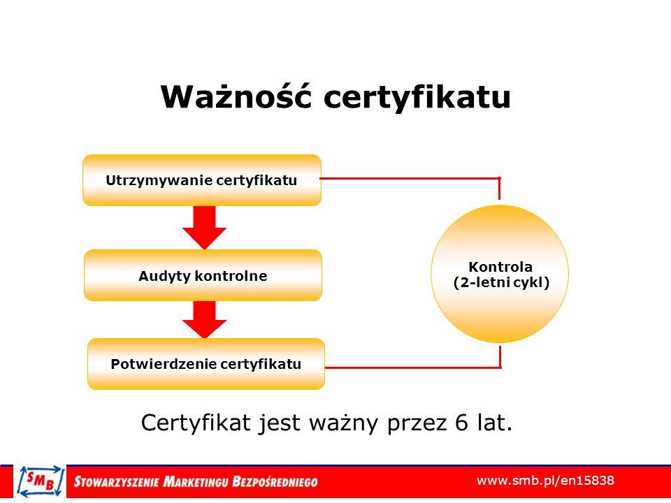 www.smb.pl/en15838 Ważność certyfikatu Utrzymywanie certyfikatu Audyty kontrolne Potwierdzenie certyfikatu Kontrola (2-letni cykl) Certyfikat jest waż