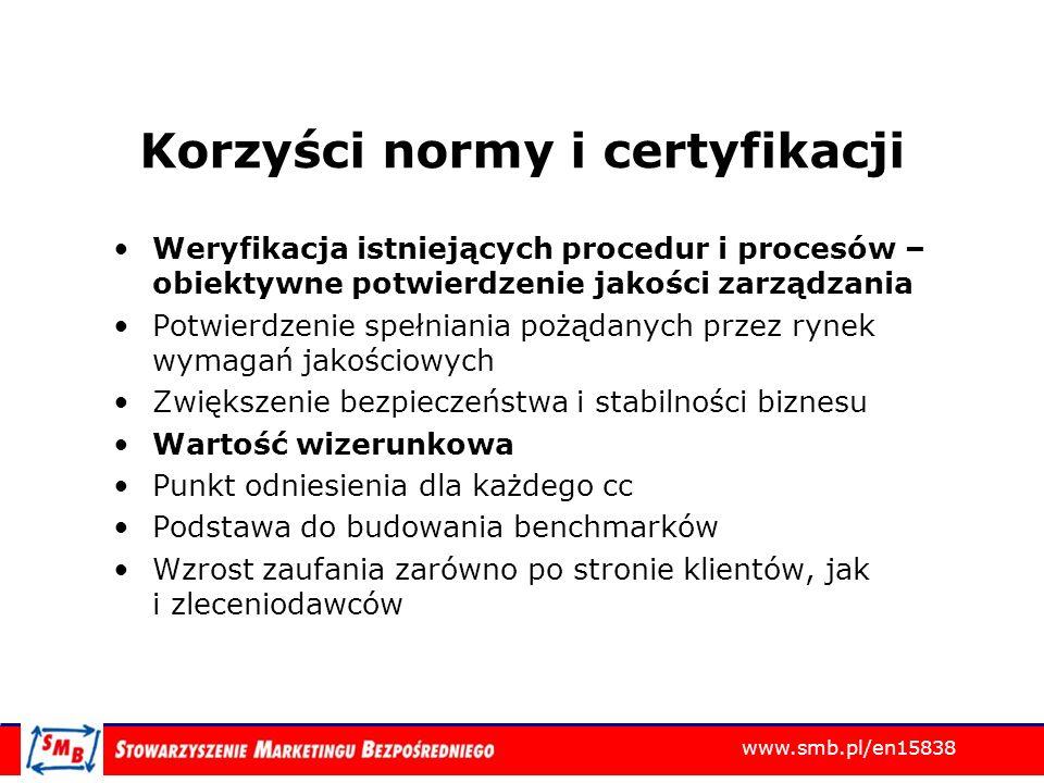 www.smb.pl/en15838 Korzyści normy i certyfikacji Weryfikacja istniejących procedur i procesów – obiektywne potwierdzenie jakości zarządzania Potwierdz