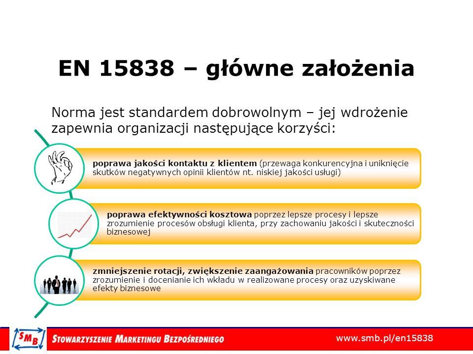 www.smb.pl/en15838 EN 15838 – główne założenia Norma jest standardem dobrowolnym – jej wdrożenie zapewnia organizacji następujące korzyści: poprawa ja