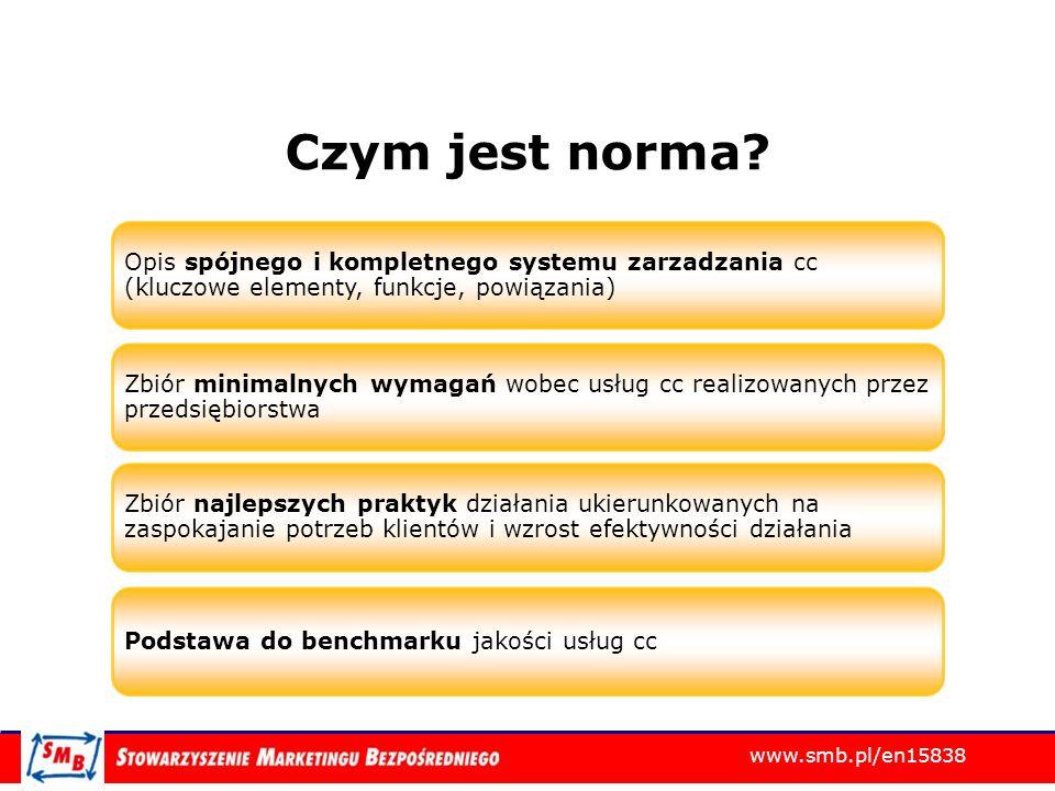 www.smb.pl/en15838 Korzyści normy i certyfikacji Ograniczenie fluktuacji pracowników Wzrost atrakcyjności dla obecnych i potencjalnych pracowników Wzrost etosu pracy telemarketera Dodatkowe narzędzie potwierdzenia kompetencji i doświadczenia managerów cc Wzrost wartości managera cc dla firmy i na rynku Kierunek rozwoju branży Pozytywny PR branży i dowód profesjonalizmu