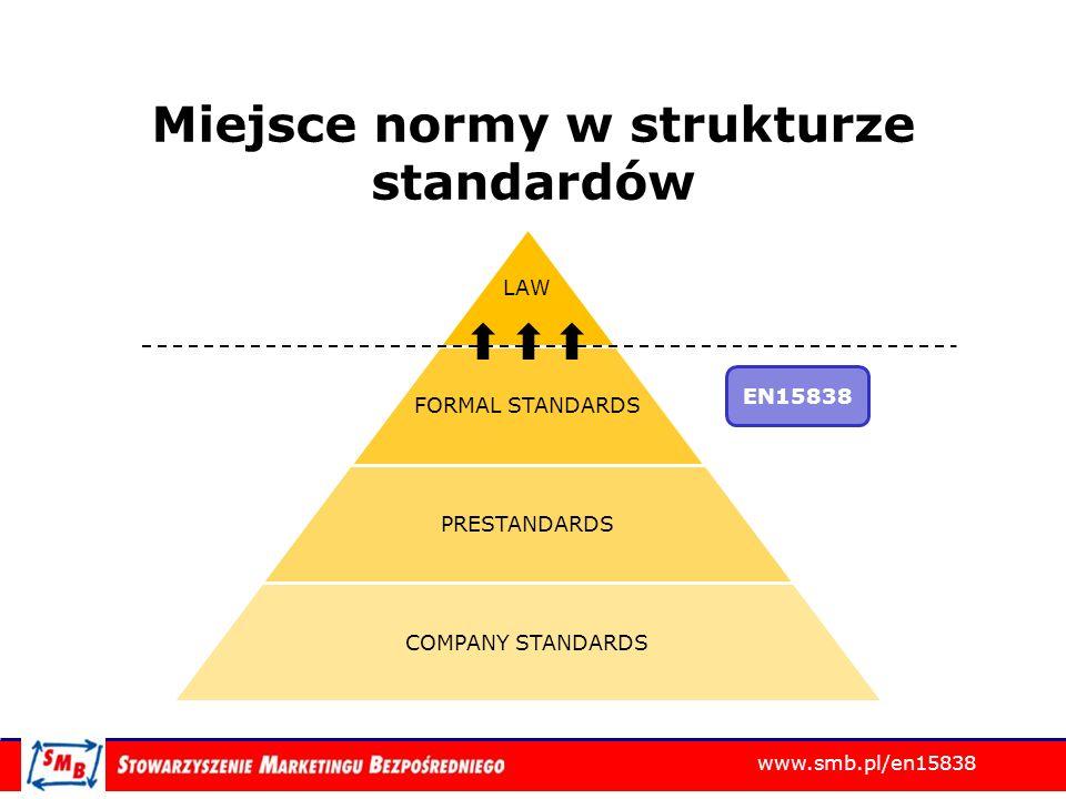 www.smb.pl/en15838 Proces certyfikacji Dokumentacja Zgłoszenie Procesowanie niezgodności Raport dla jednostki certyfikującej Ocena przez jednostkę certyfikującą Wystawienie certyfikatu Audytorzy Wiodący i Wspomagający Audyty on-sie Przygotowanie Audyt Follow-up Certyfikat
