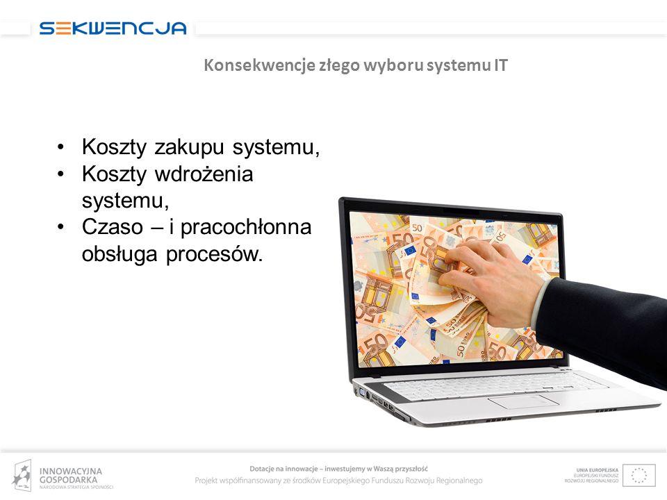 Konsekwencje złego wyboru systemu IT Koszty zakupu systemu, Koszty wdrożenia systemu, Czaso – i pracochłonna obsługa procesów.