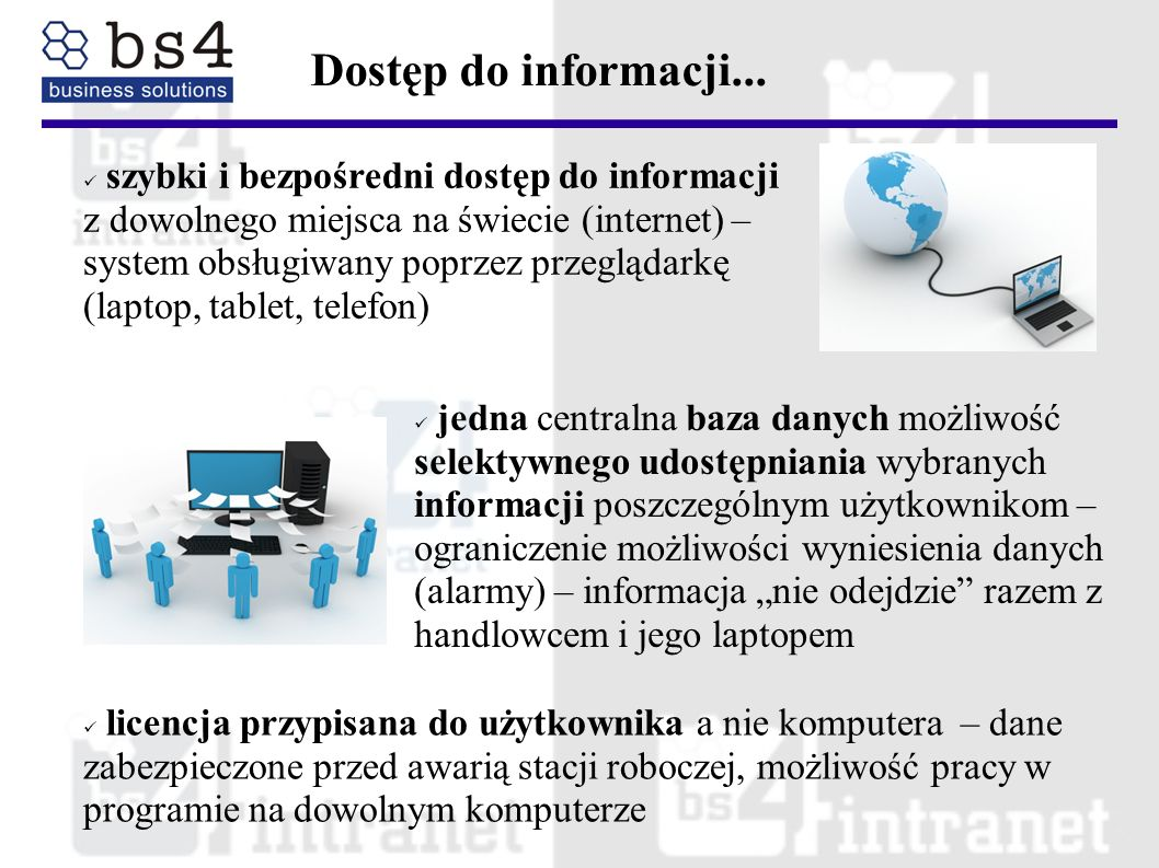 szybki i bezpośredni dostęp do informacji z dowolnego miejsca na świecie (internet) – system obsługiwany poprzez przeglądarkę (laptop, tablet, telefon