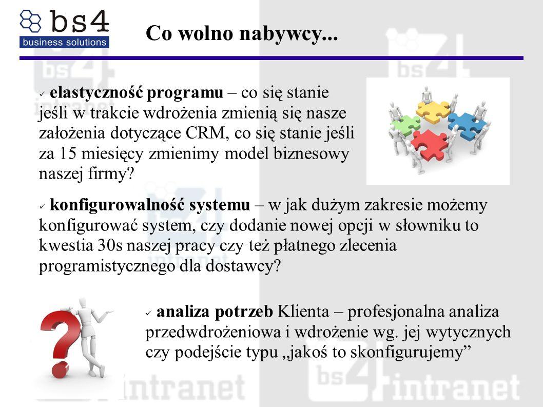 elastyczność programu – co się stanie jeśli w trakcie wdrożenia zmienią się nasze założenia dotyczące CRM, co się stanie jeśli za 15 miesięcy zmienimy