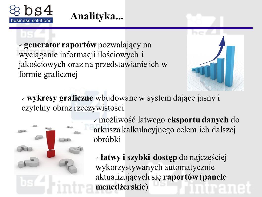 generator raportów pozwalający na wyciąganie informacji ilościowych i jakościowych oraz na przedstawianie ich w formie graficznej Analityka... możliwo