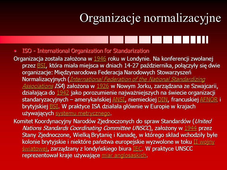 Organizacje normalizacyjne ISO - International Organization for StandarizationISO - International Organization for Standarization Organizacja została