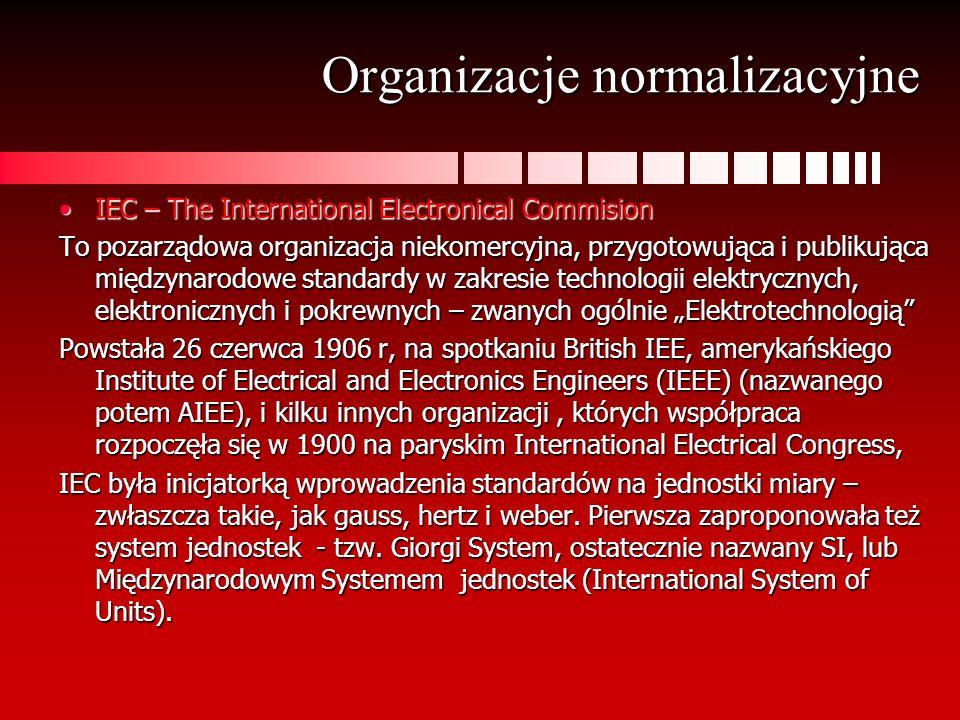 Organizacje normalizacyjne IEC – The International Electronical CommisionIEC – The International Electronical Commision To pozarządowa organizacja nie