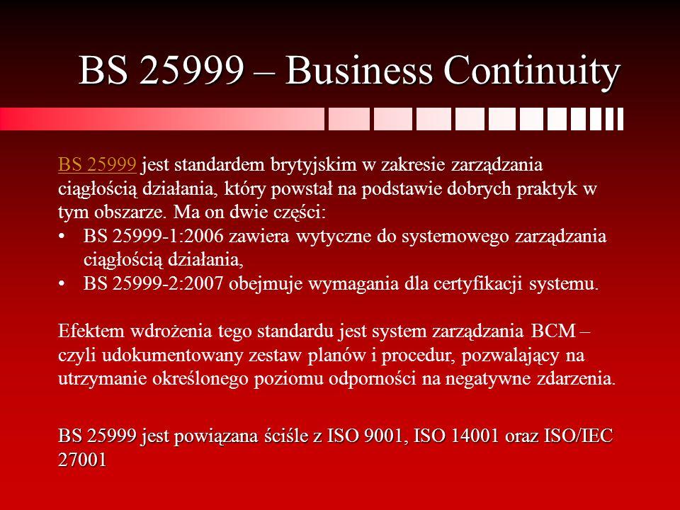BS 25999 – Business Continuity BS 25999BS 25999 jest standardem brytyjskim w zakresie zarządzania ciągłością działania, który powstał na podstawie dob