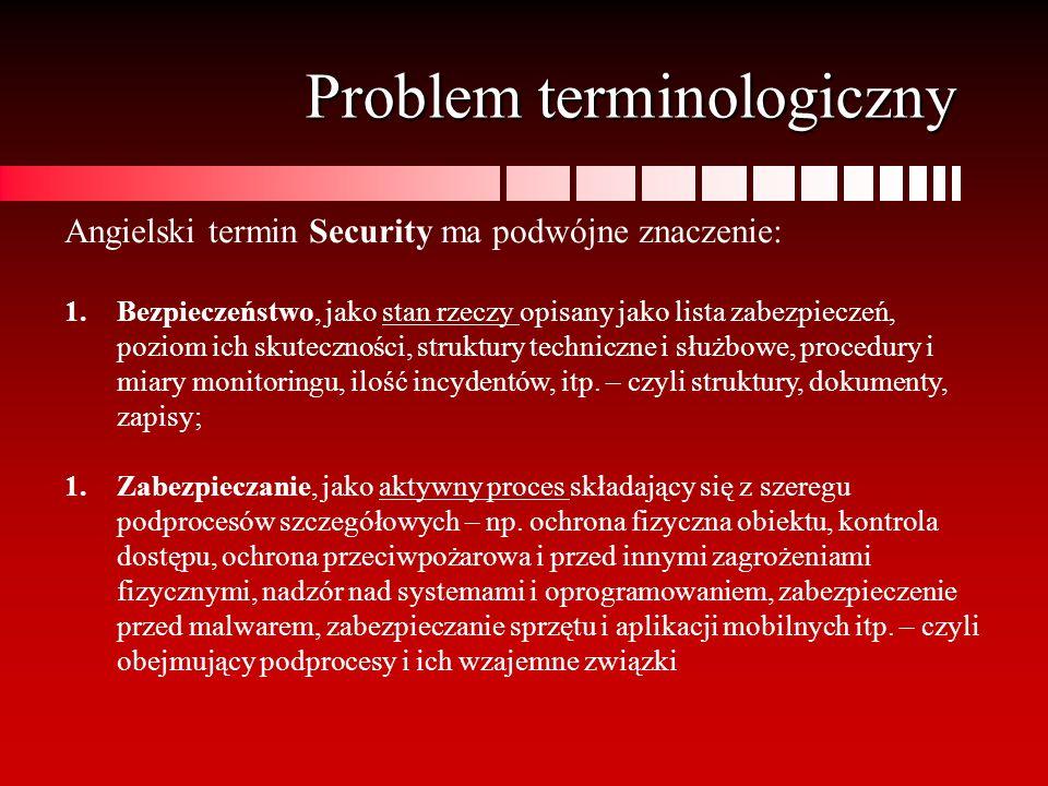Problem terminologiczny Angielski termin Security ma podwójne znaczenie: 1.Bezpieczeństwo, jako stan rzeczy opisany jako lista zabezpieczeń, poziom ic