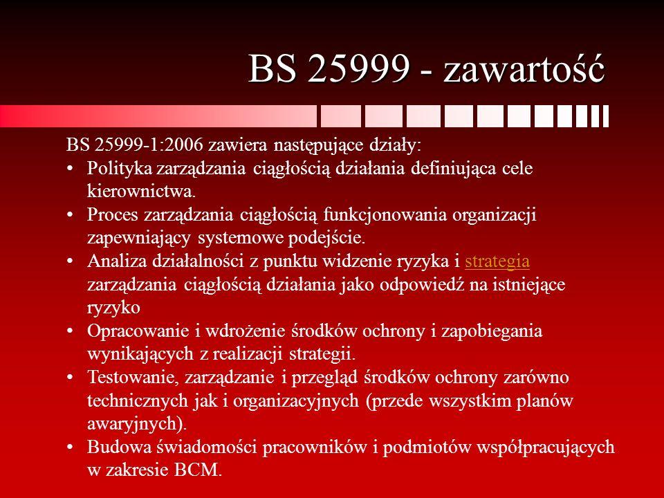 BS 25999 - zawartość BS 25999-1:2006 zawiera następujące działy: Polityka zarządzania ciągłością działania definiująca cele kierownictwa. Proces zarzą