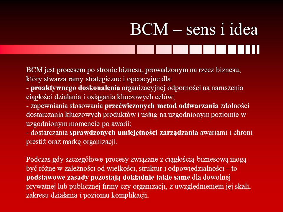 BCM – sens i idea BCM jest procesem po stronie biznesu, prowadzonym na rzecz biznesu, który stwarza ramy strategiczne i operacyjne dla: - proaktywnego